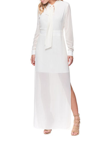 Dex Sheer Overlay Tie-Neck Gown-IVORY-Small