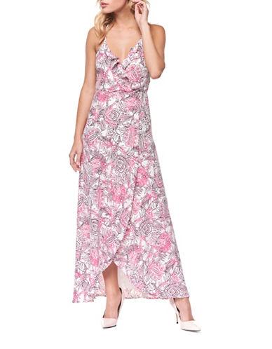 Dex Ruffled Floral-Print Gown-BLACK-Medium