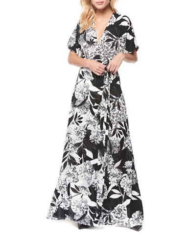 Dex Tie-Waist Floral-Print Gown-NAVY/WHITE-X-Small