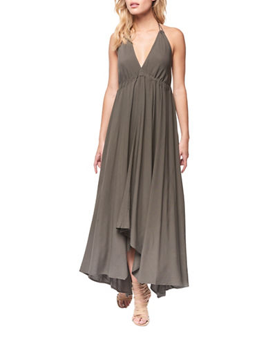 Dex Empire Waist Open Back Gown-KHAKI-X-Small