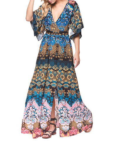 Dex Mixed-Print Faux Wrap Gown-MULTI-X-Small