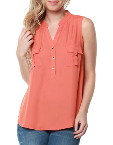 Dex V-Neck Sleeveless Top-TANGARINE-Large