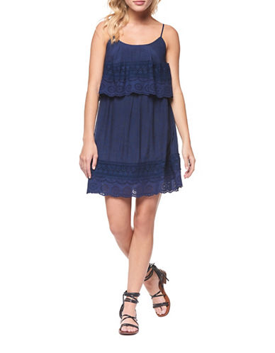 Dex Lace Detailed Mini Dress-NAVY-Medium