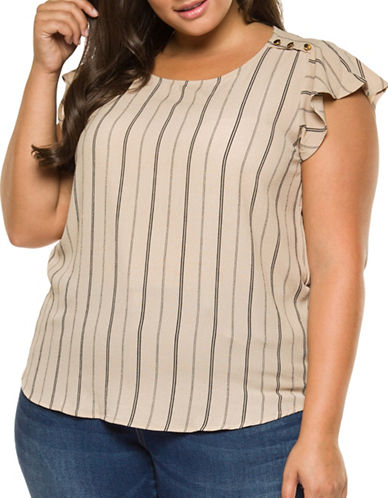 Dex Plus Striped Woven Top-BEIGE-3X