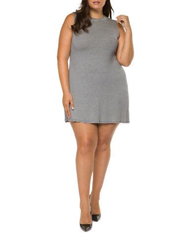Dex Plus Striped Knit Dress-BLUE-3X