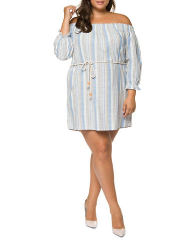 Dex Plus Striped Off-the-Shoulder Dress-BLUE MULTI-3X