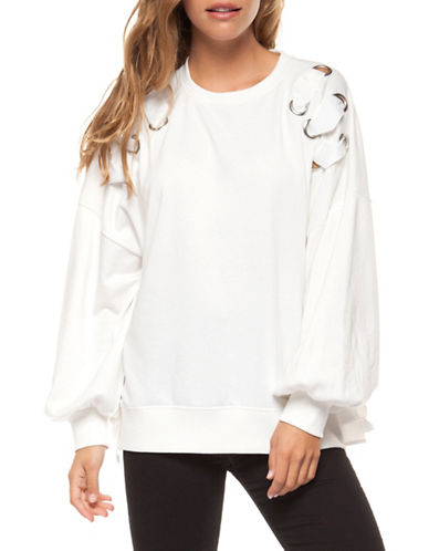 Dex Lace-Up Long-Sleeve Sweatshirt-IVORY-X-Small