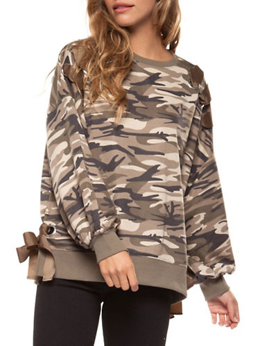 Dex Camo Lace-Up Long-Sleeve Sweatshirt-BEIGE-Medium