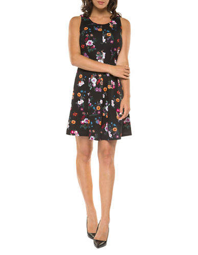 Dex Floral-Print Fit-and-Flare Dress-MULTI-Large