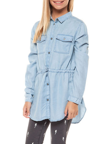 Dex Long-Sleeve Denim Tunic-BLUE-14