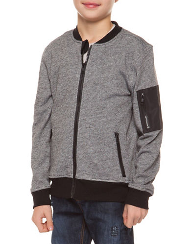 Dex Zip-Up Bomber Jacket-GREY-Medium