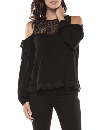 Dex Cold-Shoulder Lace Blouse-BLACK-Medium