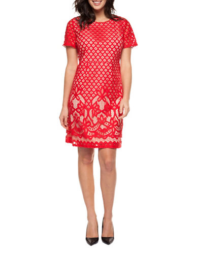 Dex Mesh Lace Sheath Dress-RED-Medium