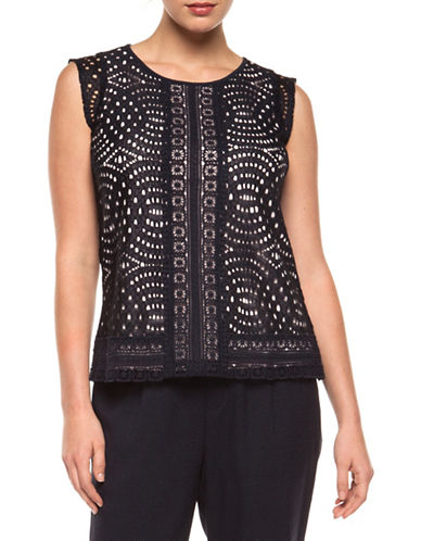 Dex Sleeveless Contrast Lace Top-DARK NAVY-X-Small