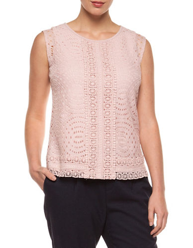 Dex Sleeveless Contrast Lace Top-PINK-Medium