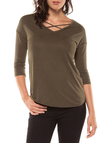 Dex Crisscross Quarter-Sleeve Top-BROWN-X-Small