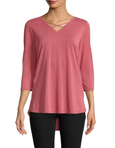 Dex Crisscross Quarter-Sleeve Top-PINK-Small