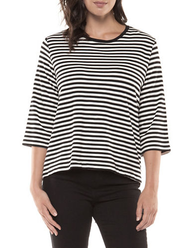 Dex Striped Three-Quarter Sleeve Top-BLACK-X-Small