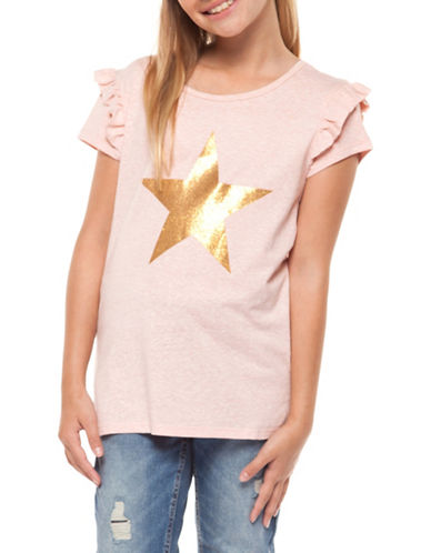Dex Star Graphic Ruffle Tee-PINK-Large