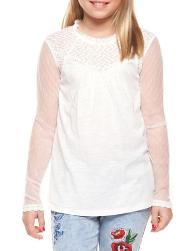 Dex Lace Sleeve and Yoke Top-IVORY-Large