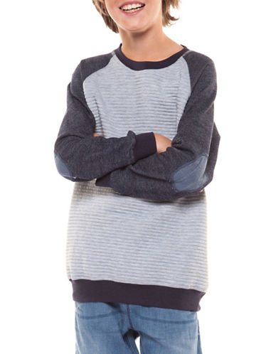 Dex Striped Raglan Pullover-GREY-Large