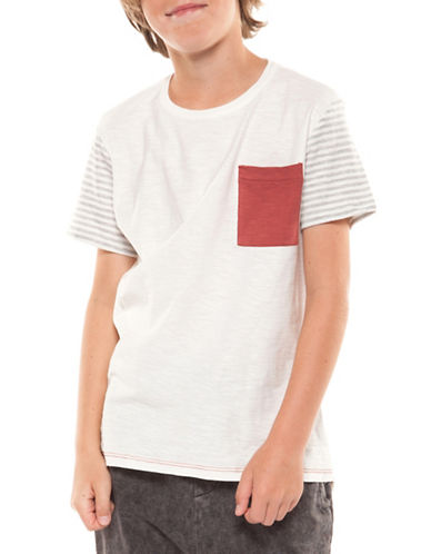 Dex Striped Sleeve Tee-GREY-Small