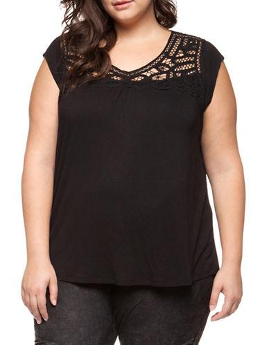 Dex Plus Cap Sleeve Lace Yoke Pullover Top-BLACK-0X