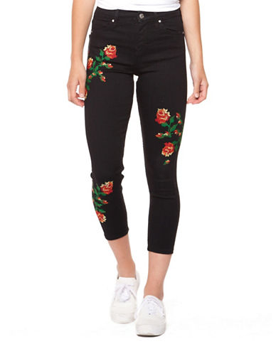 Dex Embroidered Skinny Jeans-BLACK-32