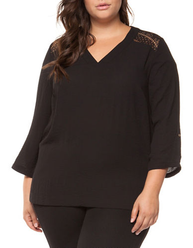 Dex Plus V-Neck Lace-Yoke Top-BLACK-1X