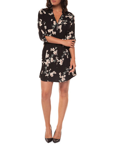Dex Zip-Up Printed Dress-BLACK-Medium