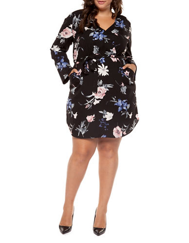 Dex Plus Plus Floral Wrap Dress-MULTI-2X