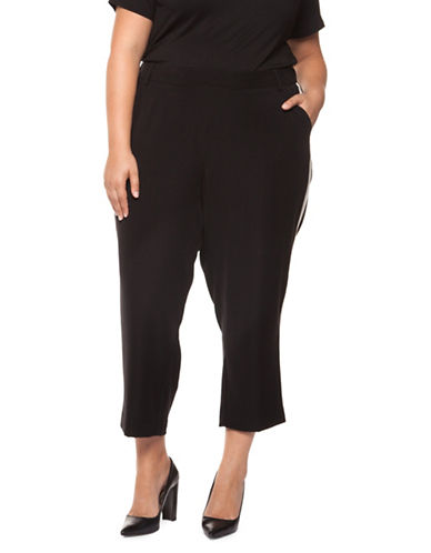 Dex Plus Contrast Side Pull-On Capri Pants-BLACK-0X