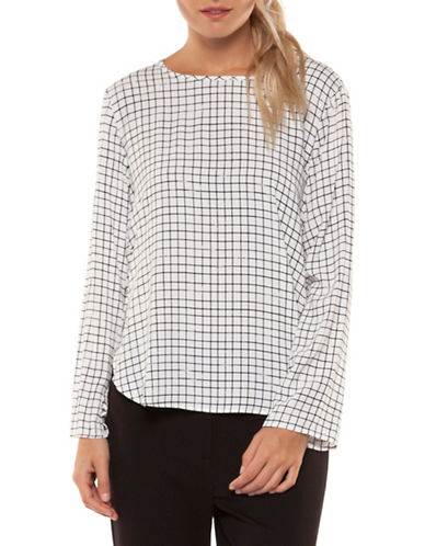Dex Long-Sleeve Printed Hi-Lo Top-BLACK PRINT-X-Large