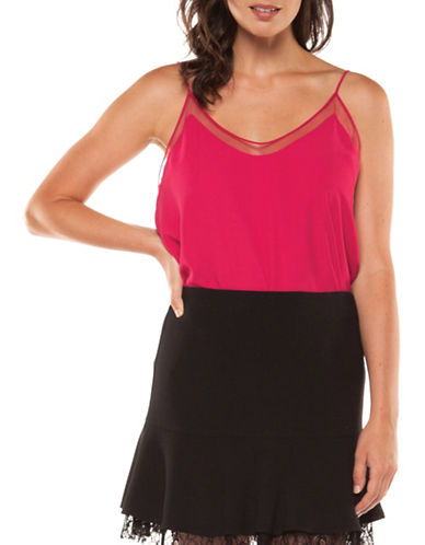 Dex Camisole Mesh Top-FUSHIA-X-Small