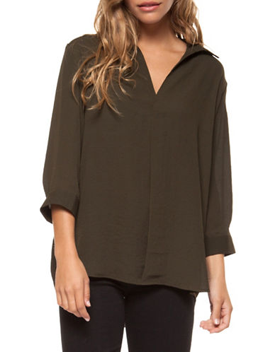Dex Open Collar Pullover Blouse-BLACK-Large