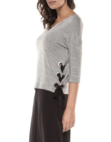 Dex Three-Quarter Sleeve V-Neck Top-GREY-X-Small