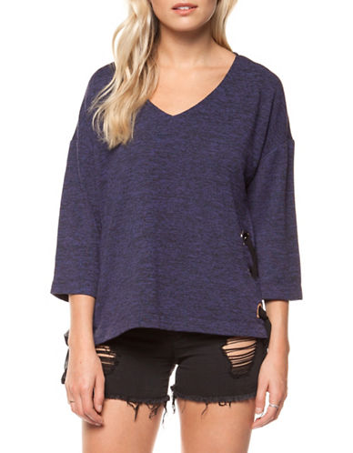 Dex Three-Quarter Sleeve V-Neck Top-PURPLE-X-Small