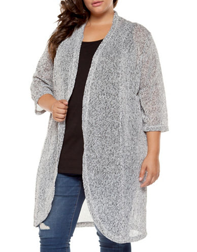 Dex Plus Plus Marled Open-Front Cardigan-GREY-1X