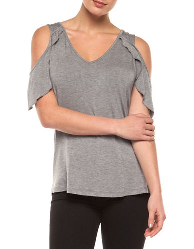 Dex Butterfly V-Neck Cold-Shoulder Top-GREY-X-Small