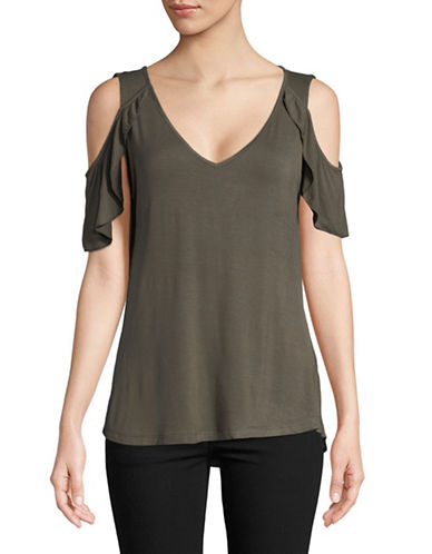 Dex Butterfly V-Neck Cold-Shoulder Top-OLIVE-Small