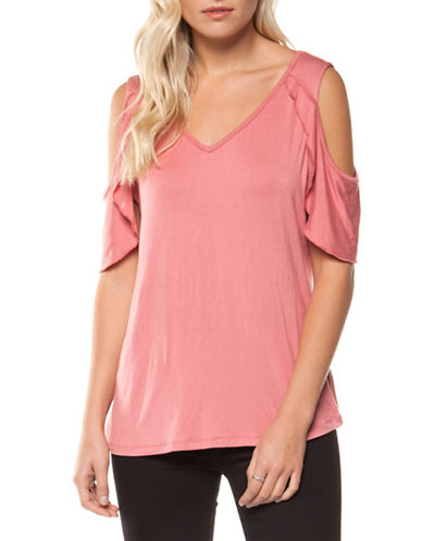 Dex Butterfly V-Neck Cold-Shoulder Top-PINK-X-Small 89801776_PINK_X-Small