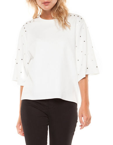 Dex Embellished-Sleeve Top-WHITE-Large