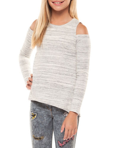 Dex Long-Sleeve Cold Shoulder Top-GREY-10