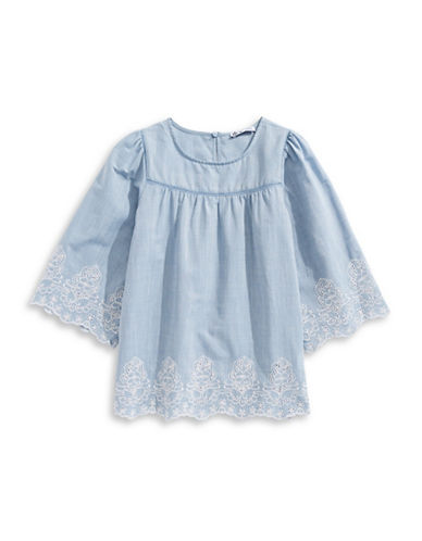 Dex Embroidered Butterfly Sleeves Top-BLUE-10