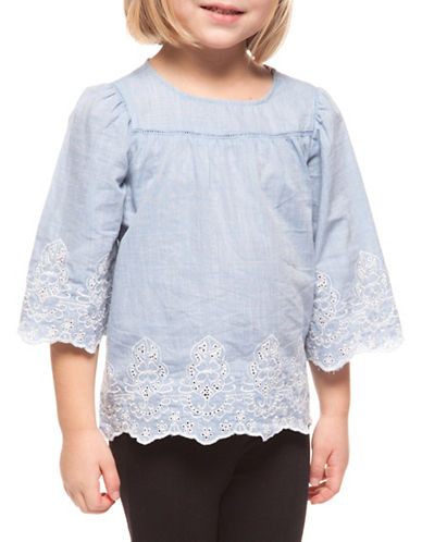 Dex Scallop Embroidered Cotton Top-LIGHT BLUE-4