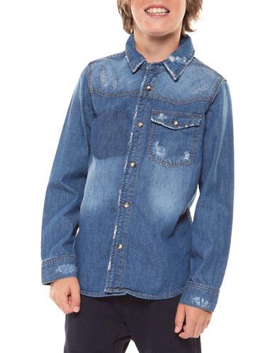 Dex Distressed Denim Sportshirt-BLUE-X-Large