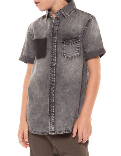 Dex Short-Sleeve Denim Collared Shirt-BLACK-X-Large