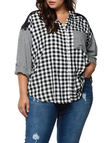 Dex Plus Checkered Roll-Up Sleeve Shirt-BLACK/WHITE-3X
