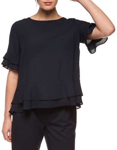 Dex Ruffle Hem Blouse-DARK NAVY-Small