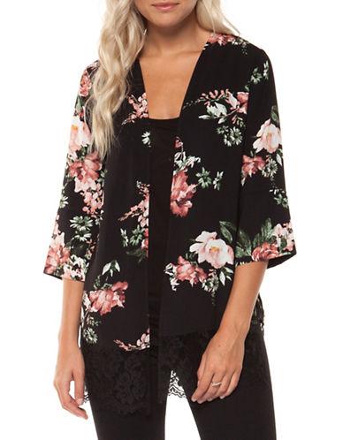 Dex Lace Hem Kimono-BLACK-Medium
